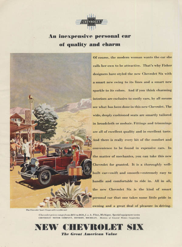 An inexpensive personal car of quality & charm Chevrolet Sport Coupe ad 1931 V