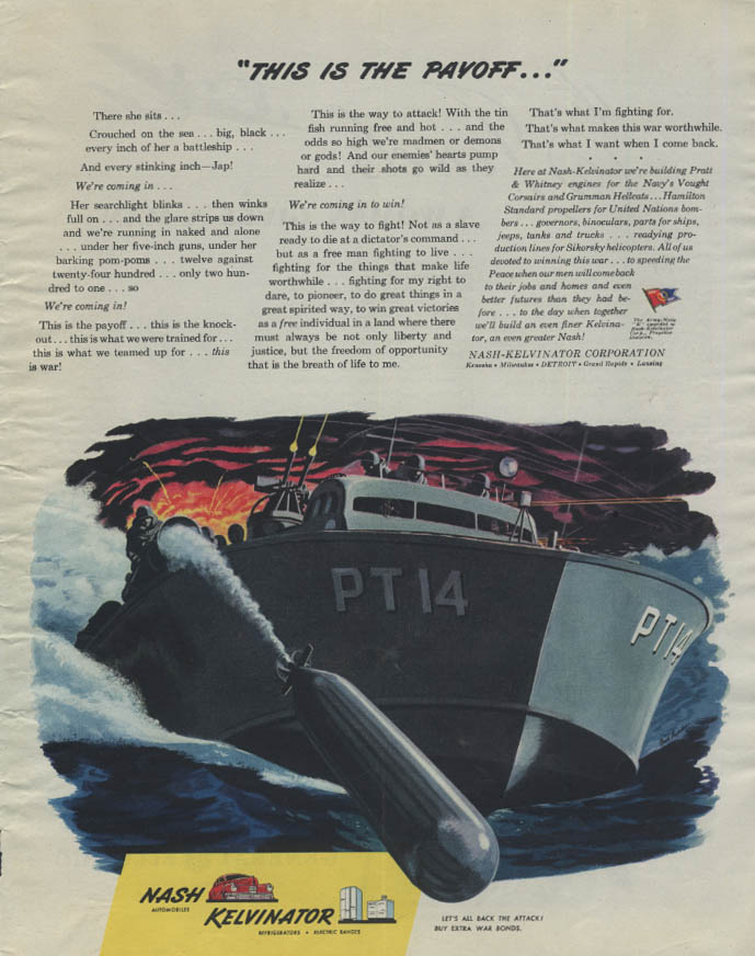 This is the Payoff PT-Boat sends torpedo Nash-Kelvinator ad 1944 C