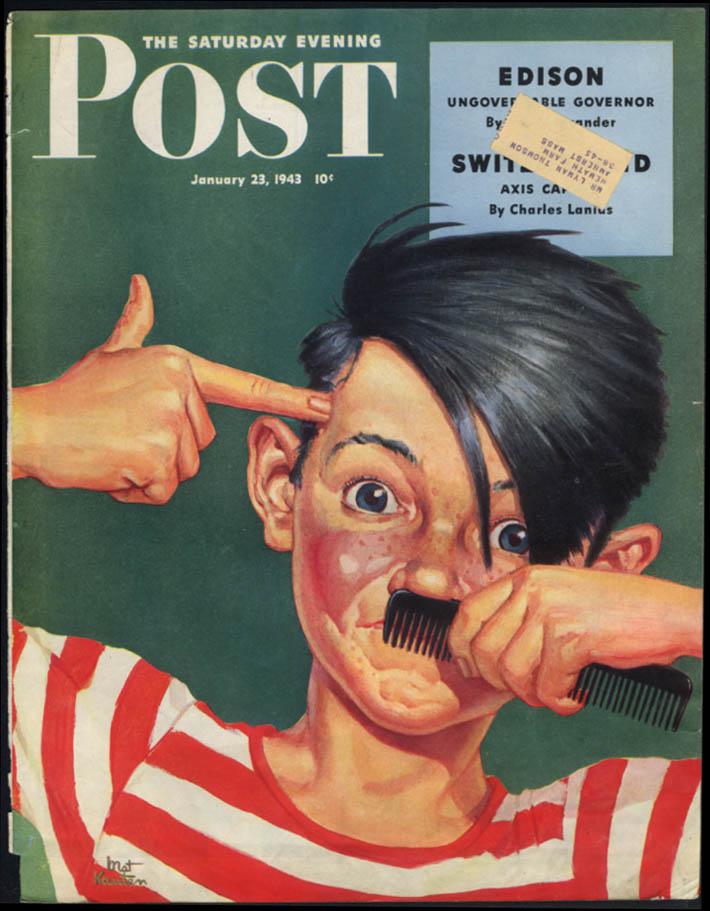 Saturday Evening Post COVER ad 1943 kid mimes Hitler shooting himself Kauten art
