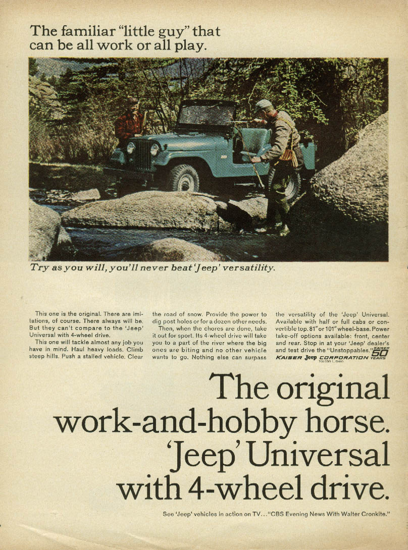Image for Familiar little guy can be all work or all play Jeep Universal ad 1965 fishing