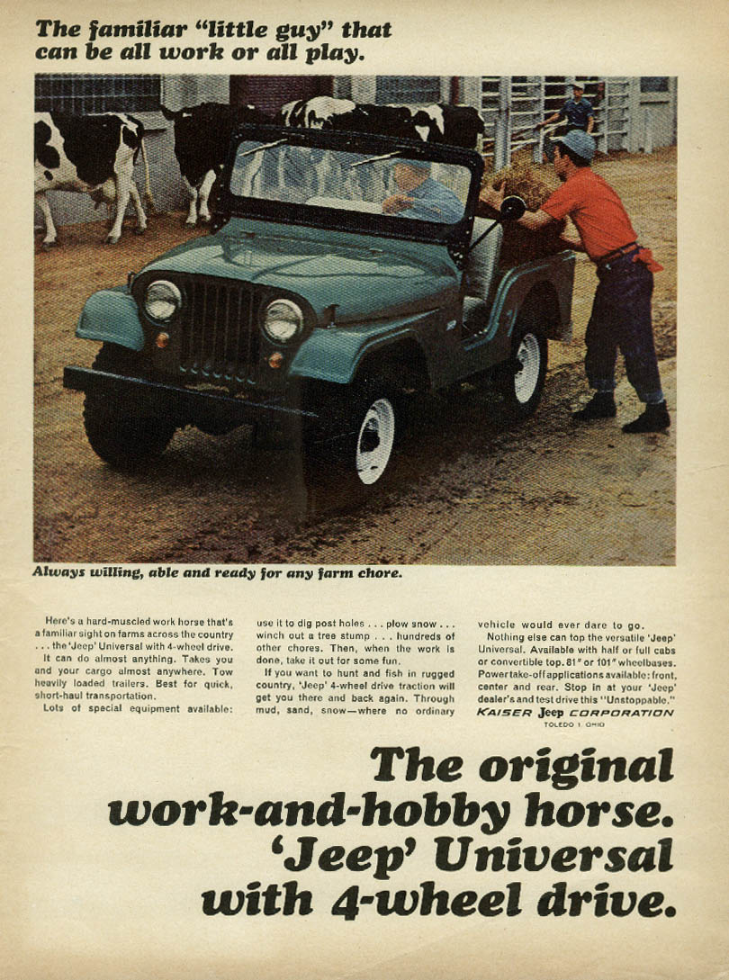 Always willing able & ready for any chore Jeep Universal ad 1965 cows
