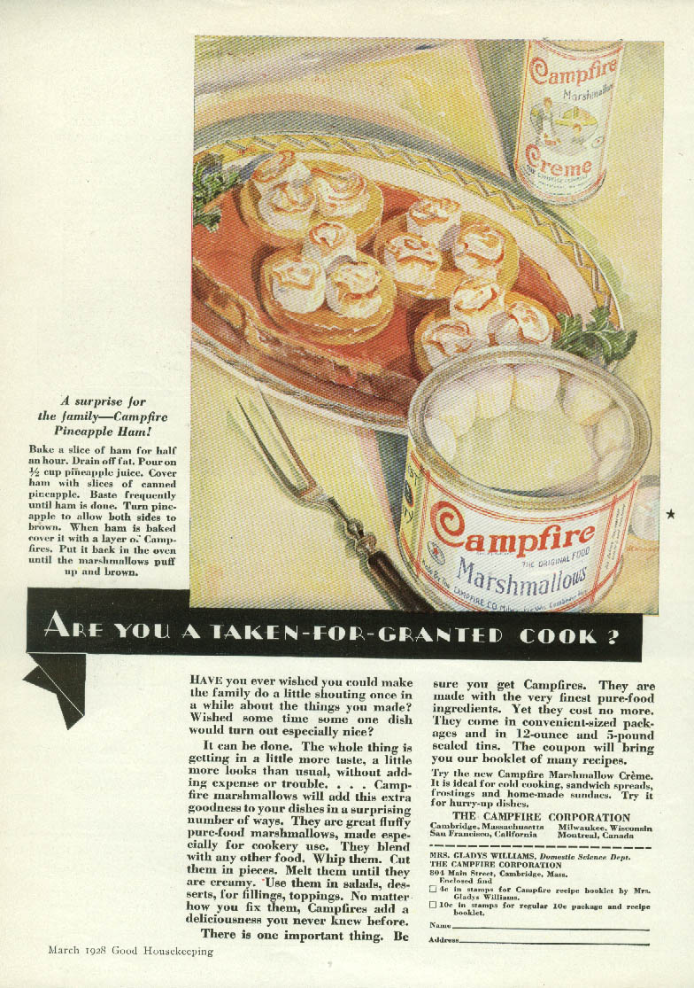 Are you a taken-for-granted cook? Campfire Marshmallow Pineapple Ham ad 1928