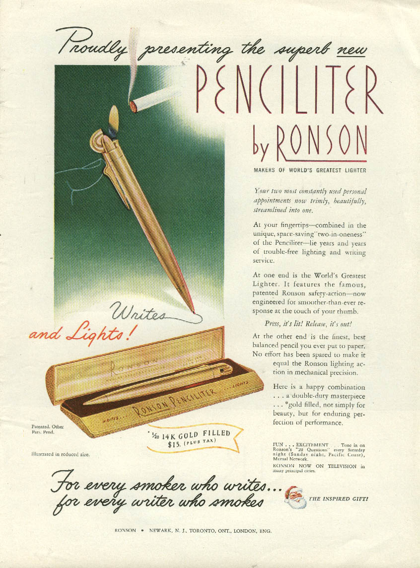Image for Proudly presenting the superb new Penciliter by Ronson ad 1948 Writes & lights!