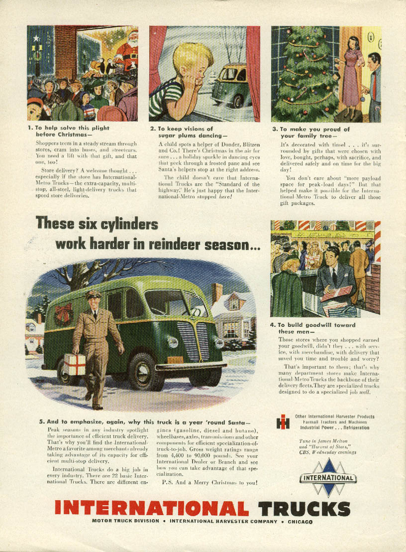 6 cylinders work hard in reindeer season International Metro ad 1948 Christmas
