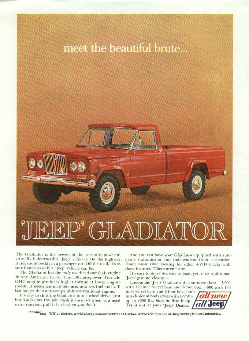 Image for Meet the beautiful brute. Jeep Gladiator ad 1963