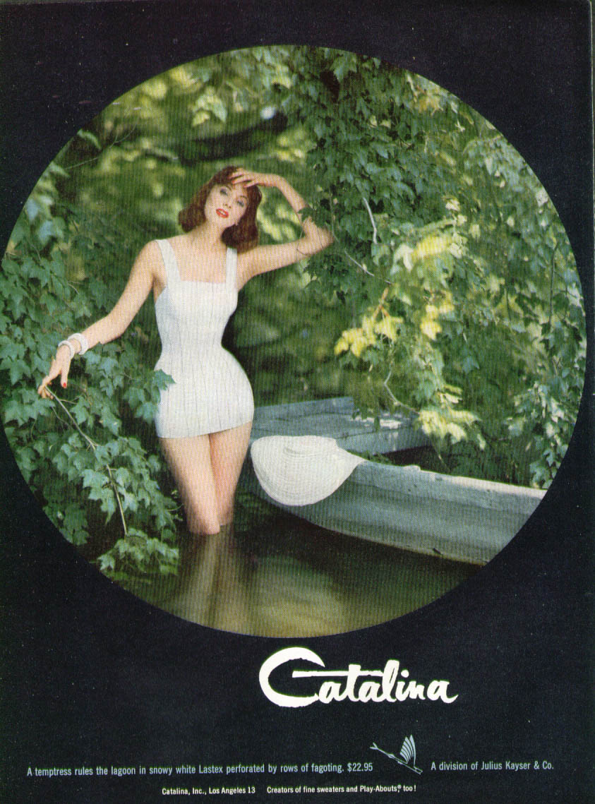 Catalina Swimsuit in lagoon / 1956 Chevrolet Hot One's Better ad 1956