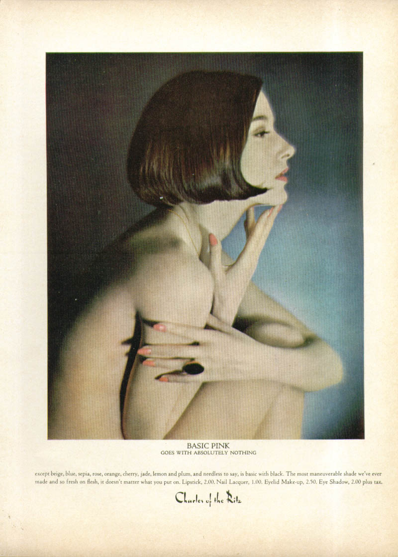 Basic Pink goes with absolutely nothing Charles of the Ritz ad 1965 nude model