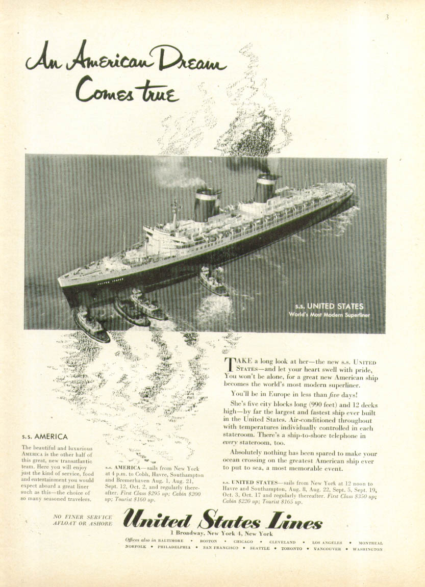 An American Dreamn Comes True S S United States ad 1952
