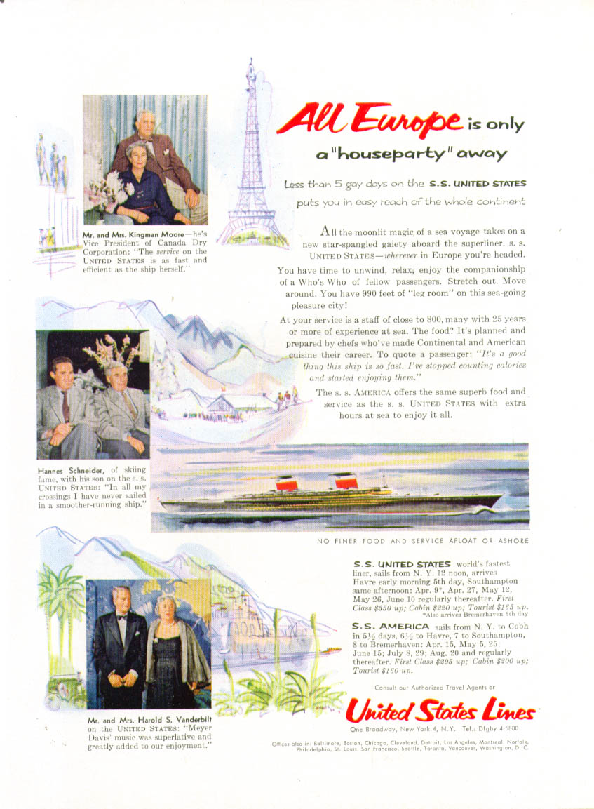 All Europe is only a houseparty away S S United States ad 1955