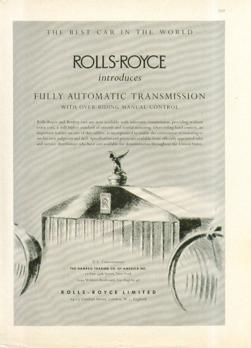 Image for Rolls-Royce introduces Fully Automatic Transmission ad 1952 1953