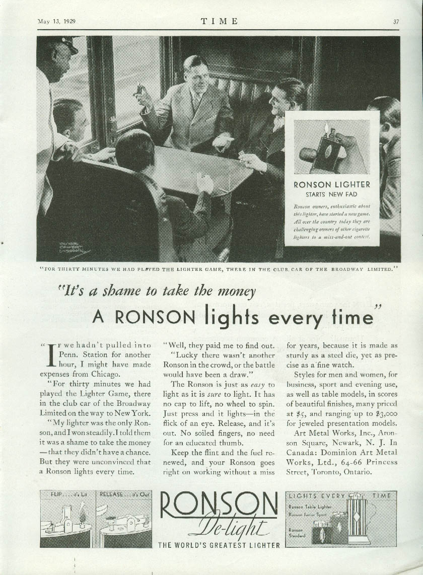 Ronson cigarette lighter lights every time on Broadway Limited ad 1929