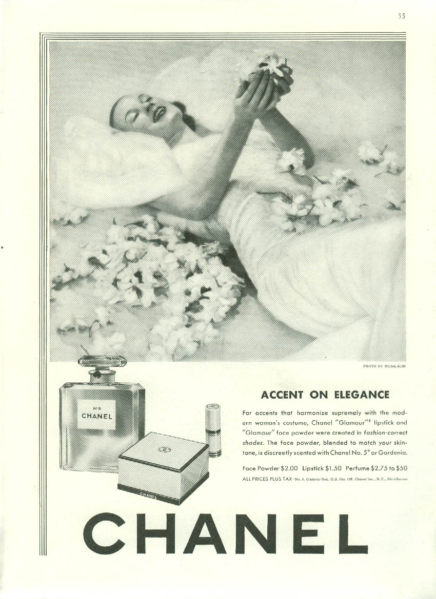 Accent on  Elegance Chanel No 5 perfume ad 1942 Munkacsi photo