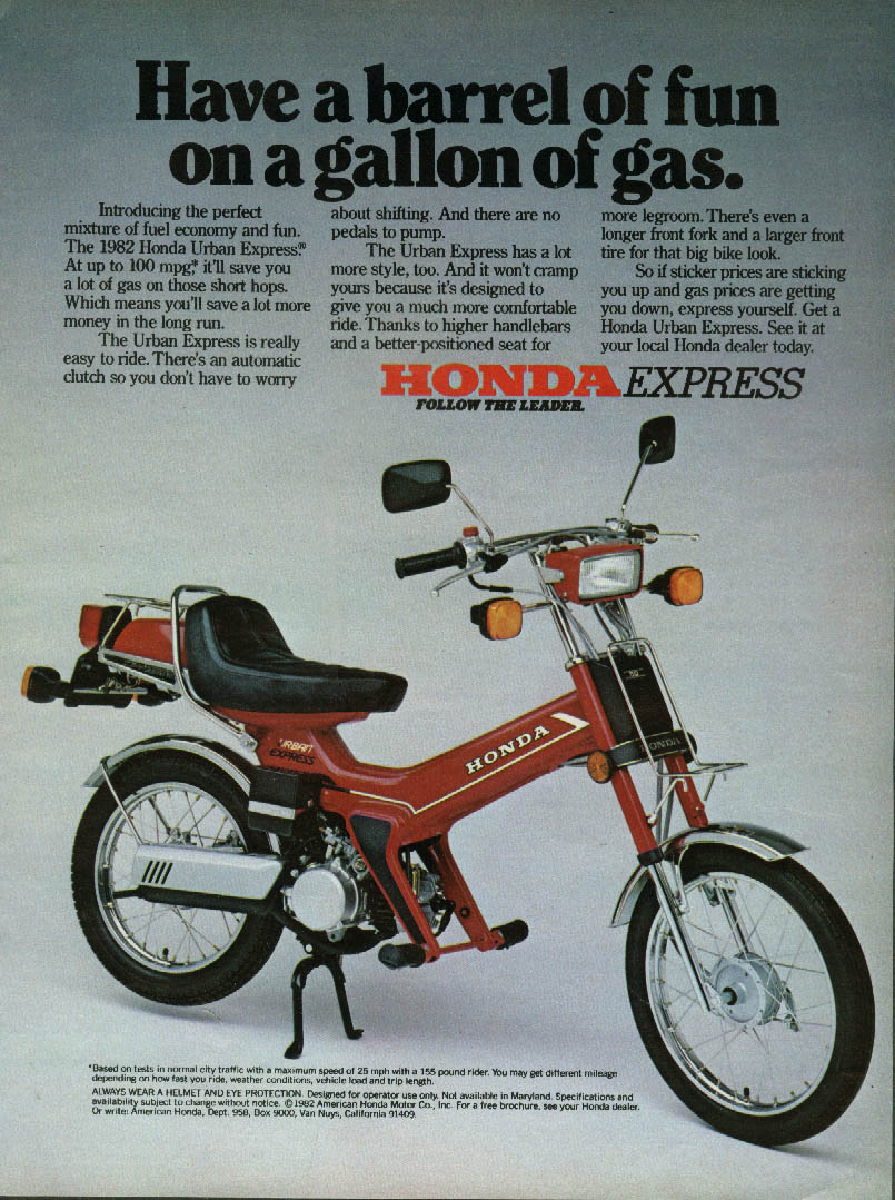 Have a barrel of fun on a gallon of gas Honda Express Motorcycle ad 1982