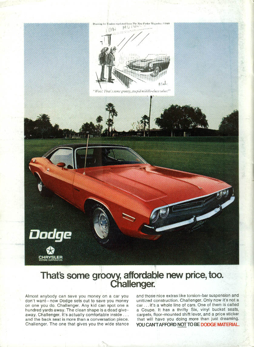 That's some groovy affordable new price, too Dodge Challenger ad 1971