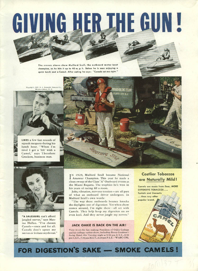 1938 Packard 6 & 8 Outboard Racing Champ Mulford Scull Camel Cigarettes ad 1937