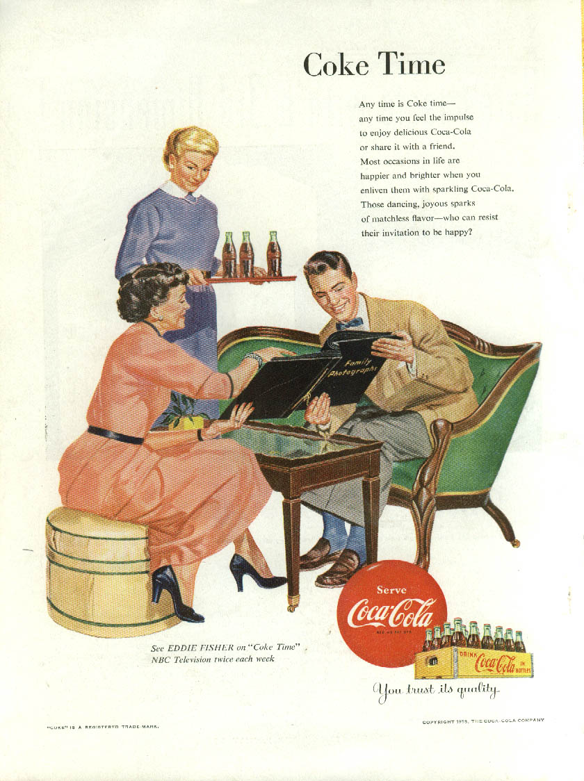 Coke Time Coca-Cola ad 1953 showing family photos to beau