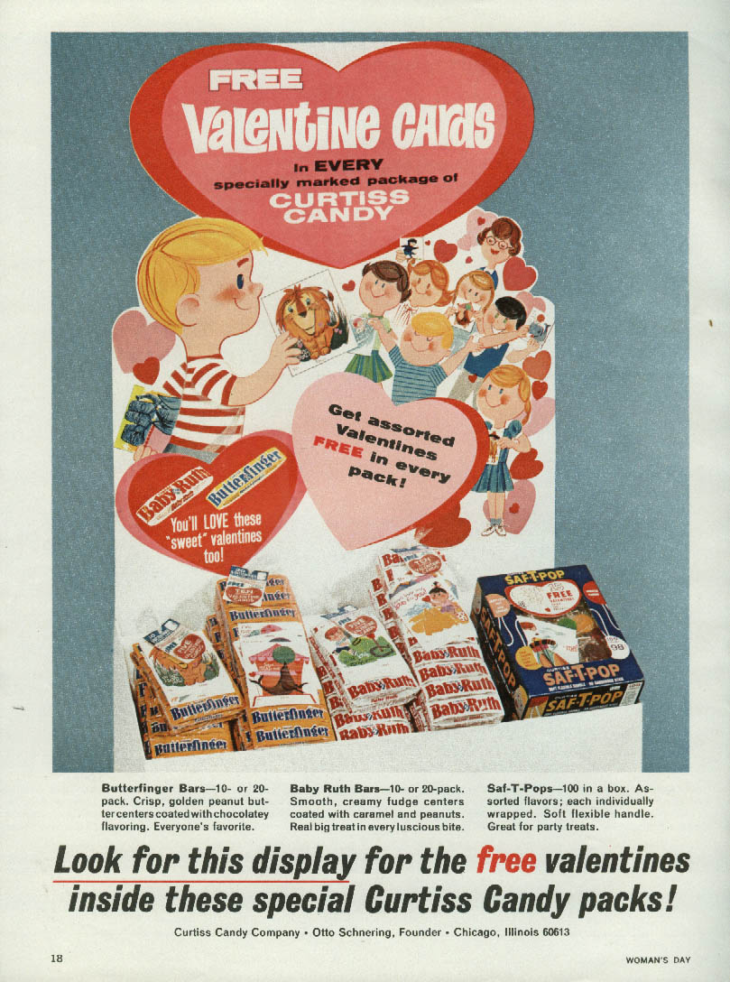 Image for Free Valentine Cards Curtiss Baby Ruth Butterfinger candy offer ad 1964