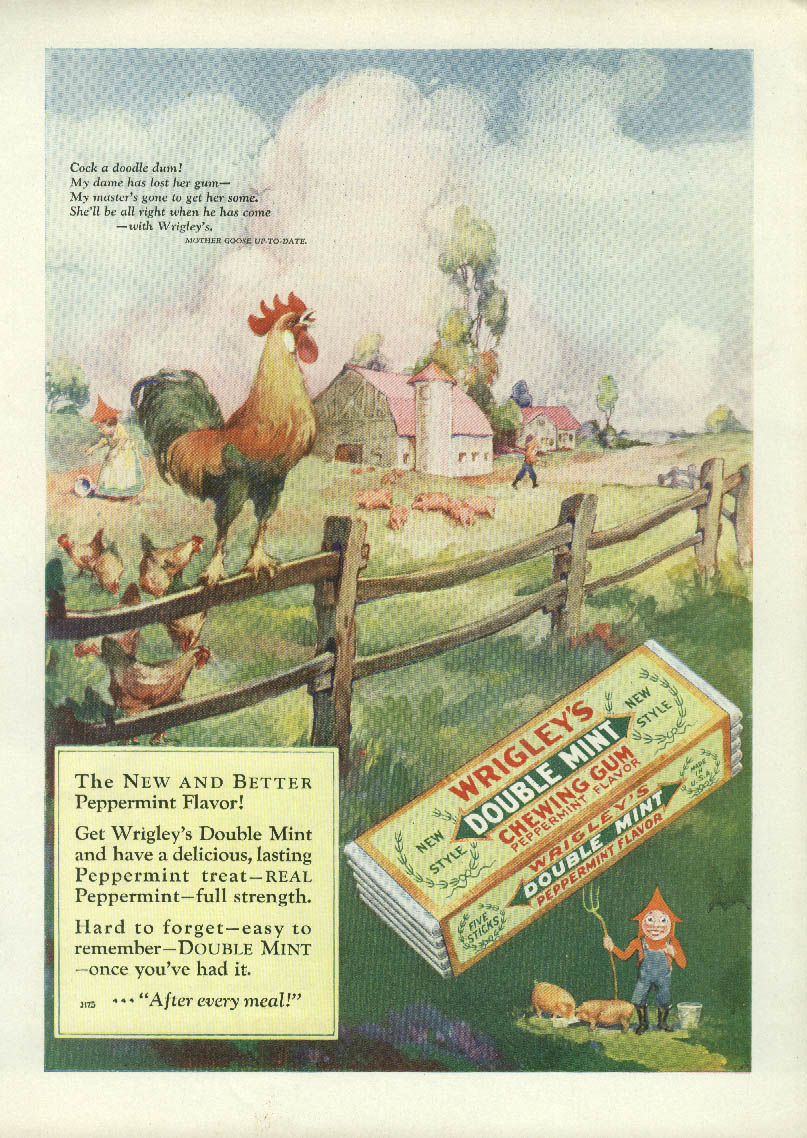 Image for Wrigley's Cock-a-doodle do Spear Man / Parker Duofold Fountain Pen ad 1927