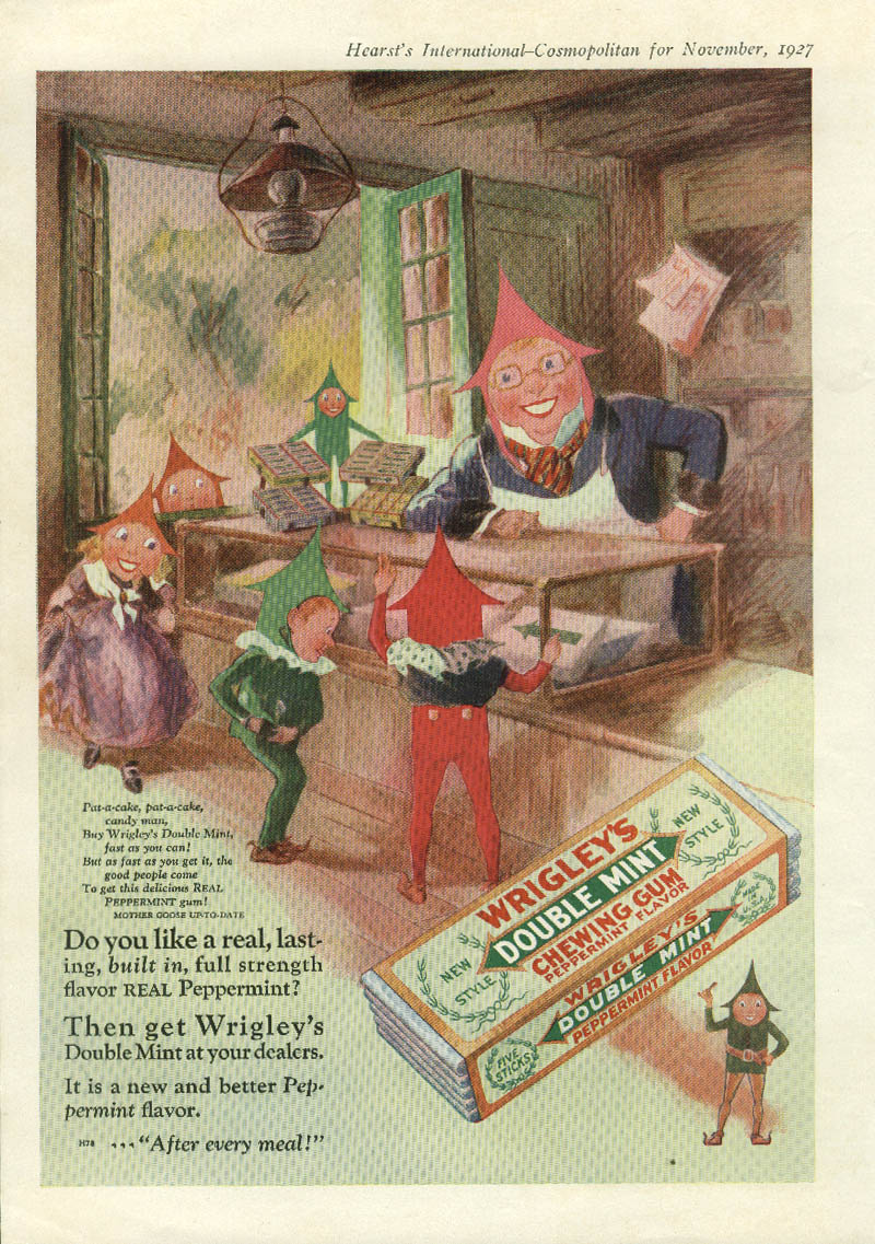 Image for Pat-a-cake candy man Wrigley's Spearmint Gum Spear Man ad 1927