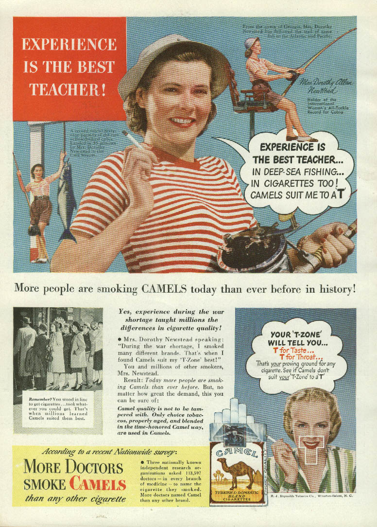 All-Tackle Fishing Champ Dorothy Allan Newstead for Camel Cigarettes ad 1947