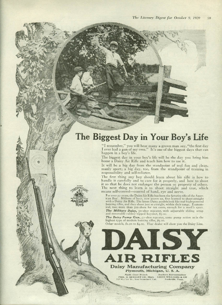Biggest Day in Your Boy's Life a gun of his own Daisy Air Rifle ad 1920