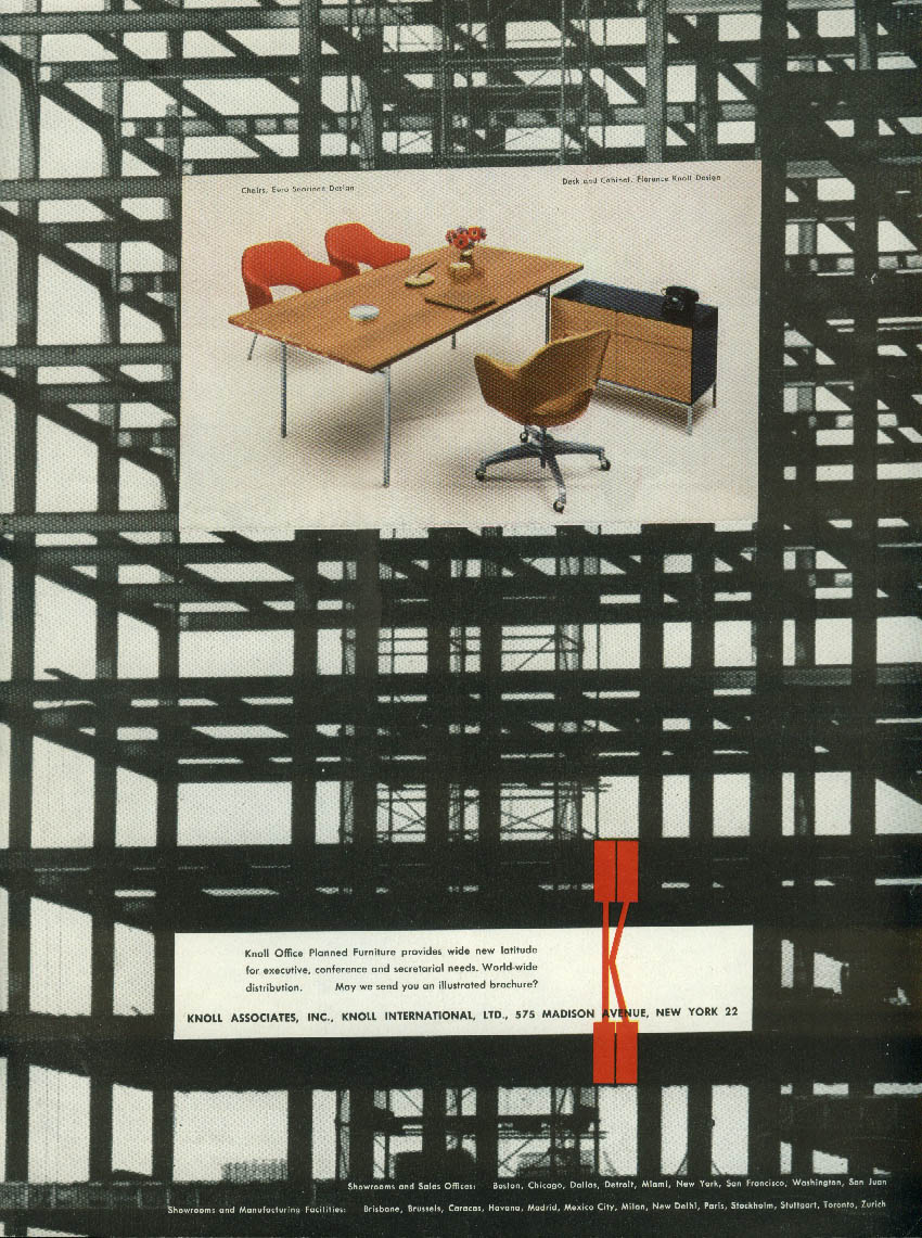Eero Saarinen Chairs Florence Knoll Desk Knoll Associates ad 1957