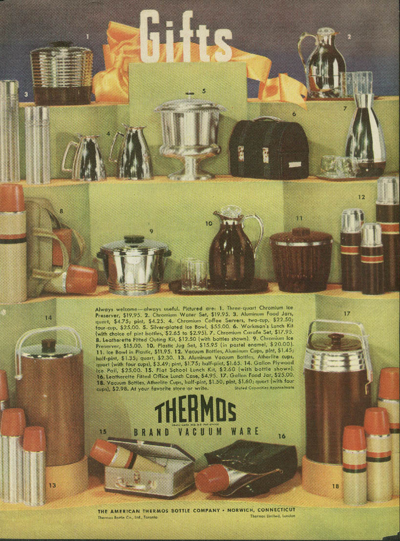 Always Welcome - Always Useful Thermos Brand Vacuum wear Bottle ad 1949