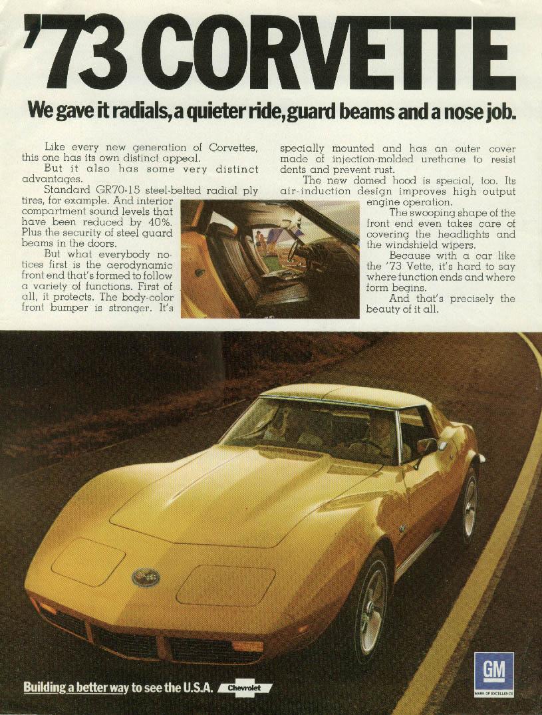 '73 Corvette: We gave it radials quieter ride guard beams & nose job ad 1973 R&T