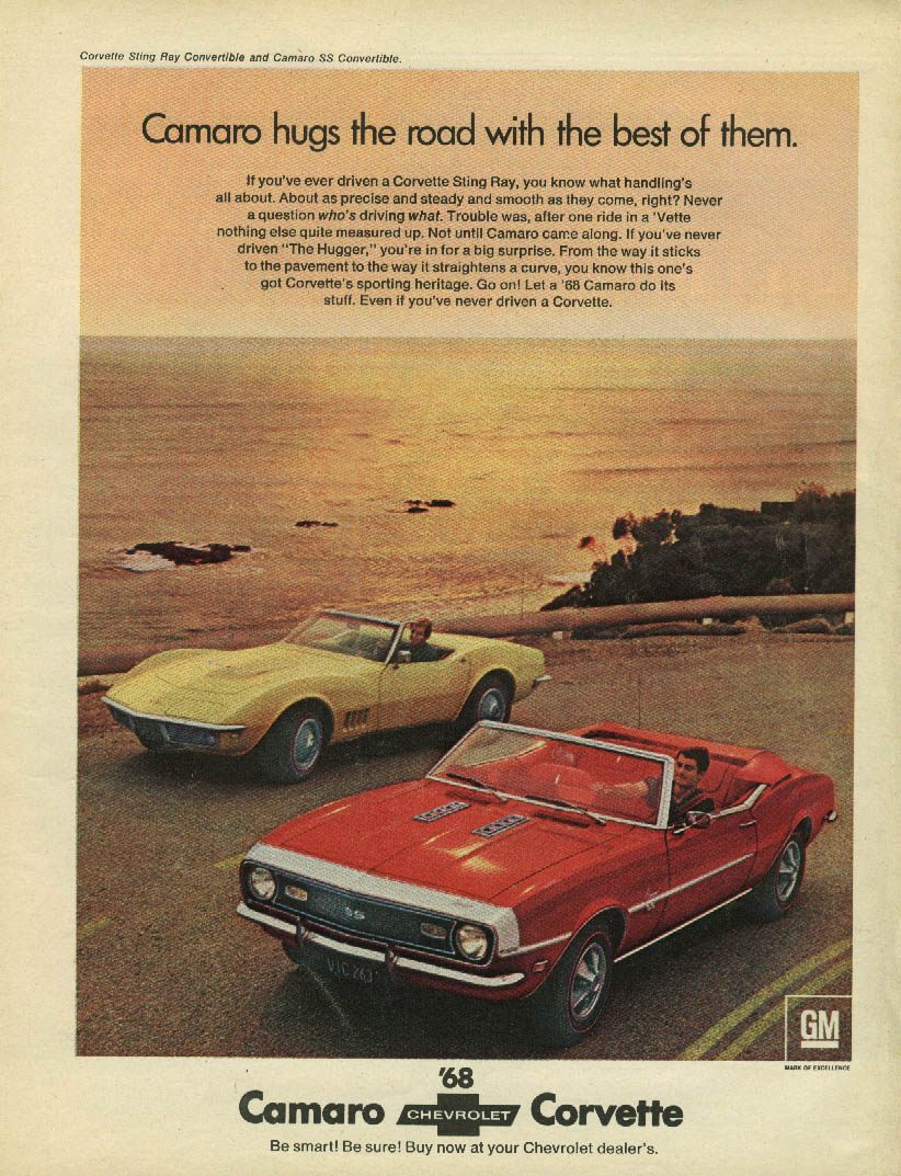 Camaro hugs the road with the best of them Corvette ad 1968 Sport
