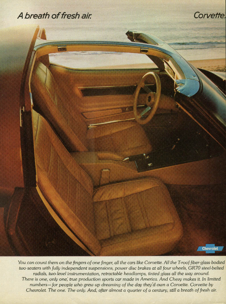 A breath of fresh air Corvette ad 1977 Road & Track