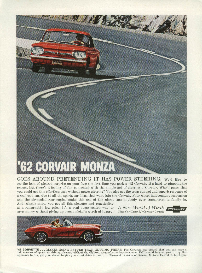 Corvair goes around pretending it has power steering Corvette ad 1962 NY