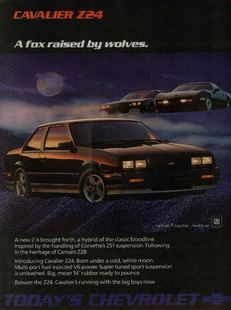 Cavalier Z24 A fox raised by wolves Camaro Corvette ad 1986