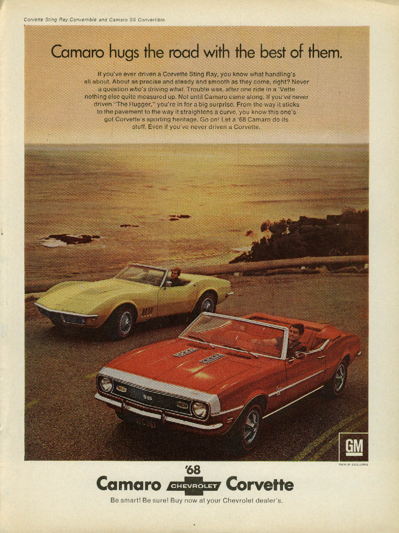 Camaro hugs the road with the best of them Corvette ad 1968 SI