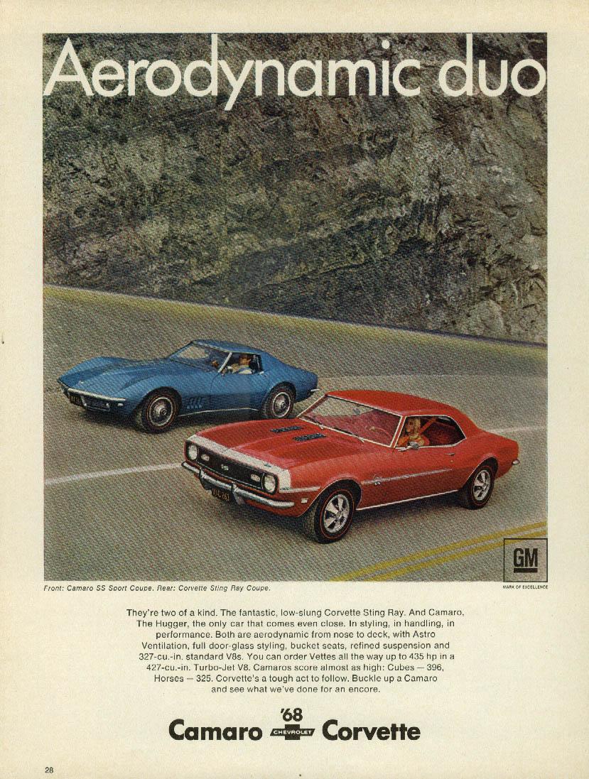 Aerodynamic duo - Corvette Camaro SS ad 1968 Venture