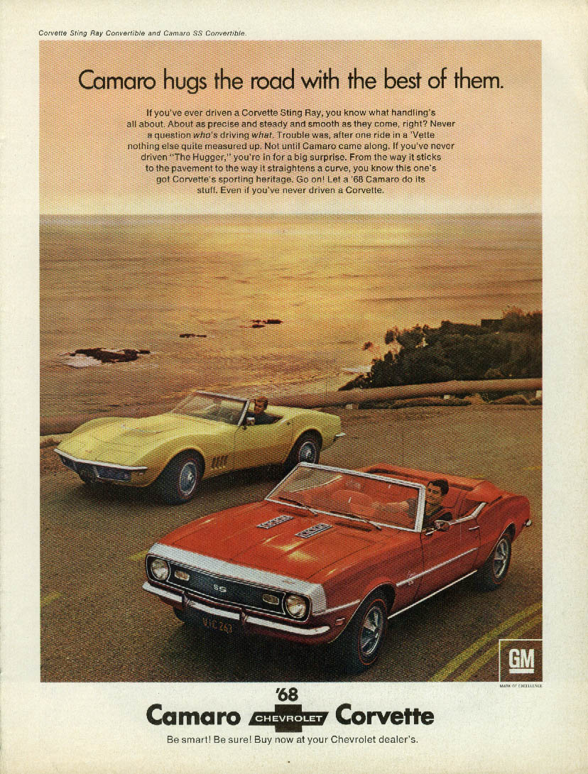Camaro hugs the road with the best of them Corvette ad 1968 Road & Track