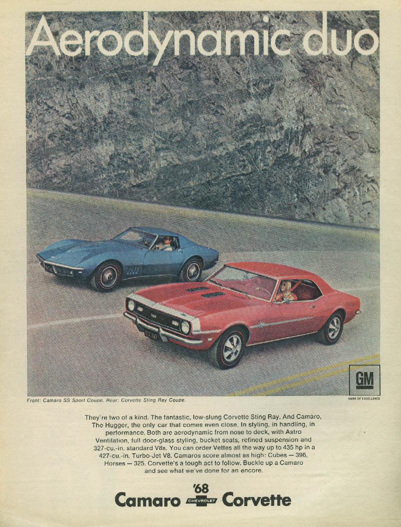 Aerodynamic duo - Corvette Camaro SS ad 1968 Sport Magazine