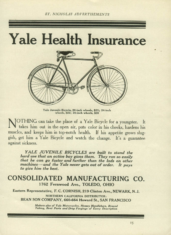Yale Health Insurance for a youngster Yale Bicycle ad 1913