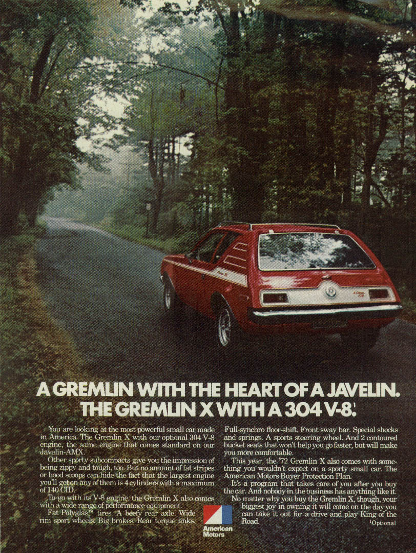A Gremlin with the Heart of a Javelin Gremlin X 304 V-8 AMC ad 1972