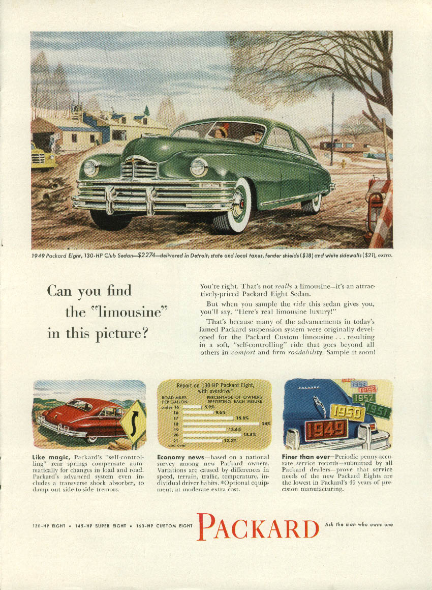 Can you find the limousine in this picture? Packard 8 Club Sedan ad 1949 NY