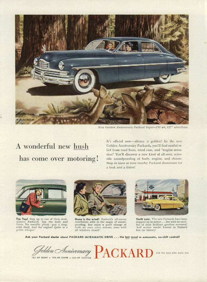 A wonderful new hush has come over motoring Packard Super Sedan ad 1949 NY