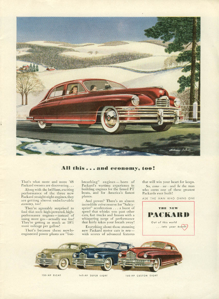 All this and economy, too! Packard Super 8 Sedan ad 1948 NY