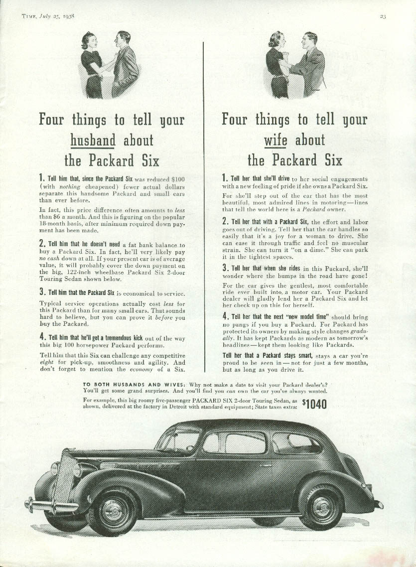 4 things to tell your husband / wife about the Packard Six ad 1938