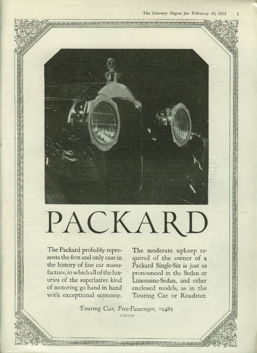 Probably represents the first & only case in history Packard ad 1923