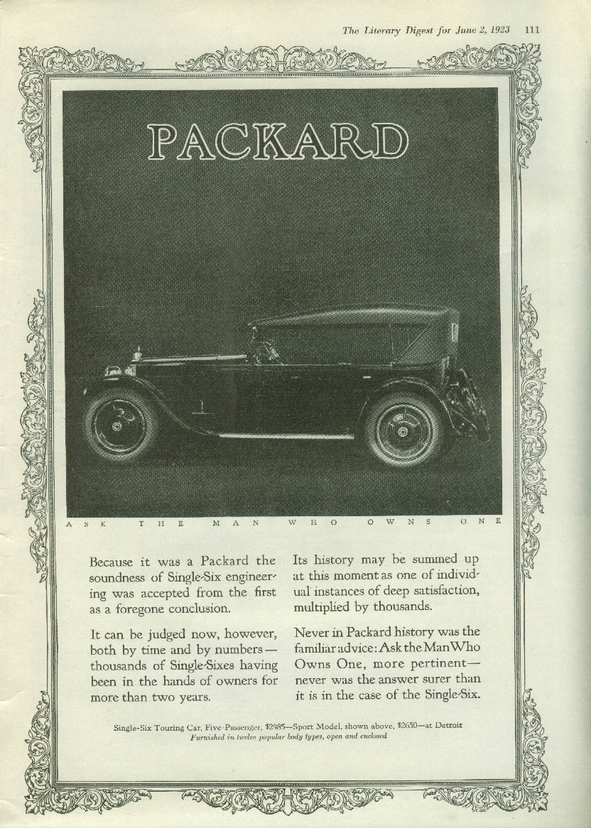 Packard Single-Six Touring Car / Oakland 6 Coupe for 2 ad 1923