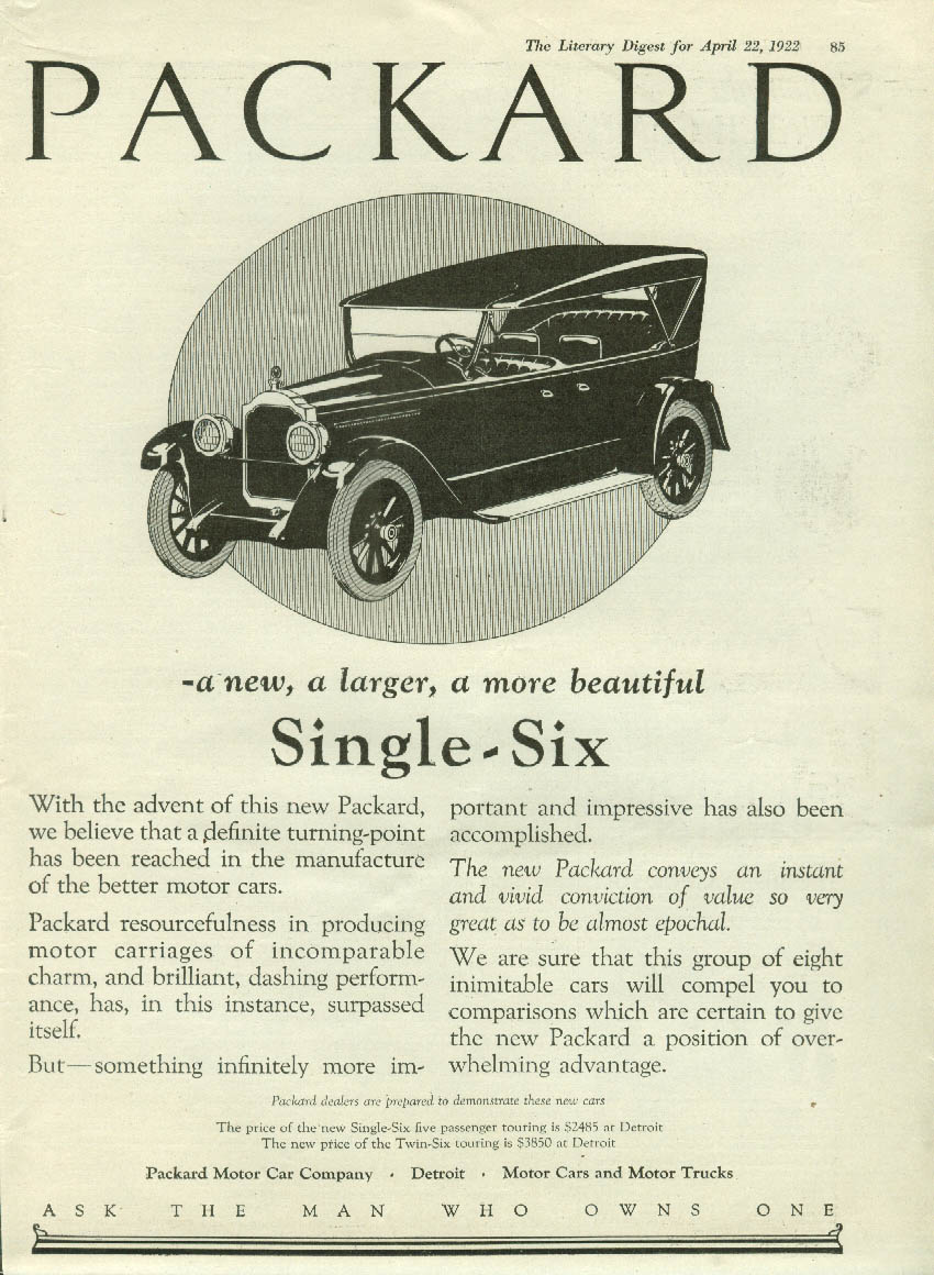 A new larger more beautiful Packard Single-Six ad 1922