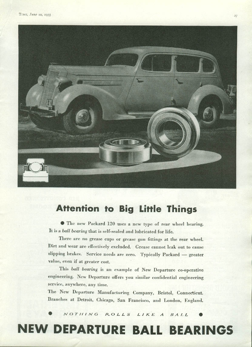 Attention to Big Little Things Packard New Departure Ball Bearings ad 1935
