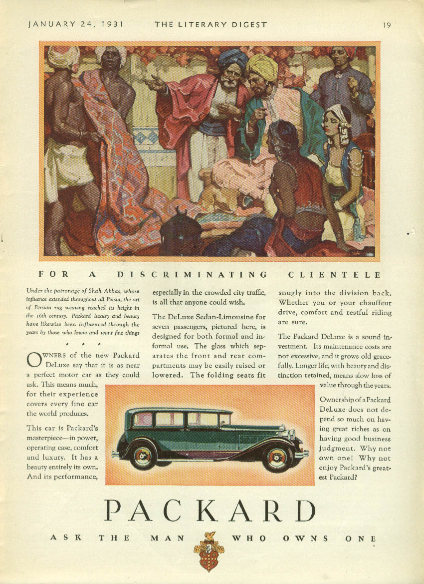 Owners of the new Packard DeLuxe Sedan say it is near perfect ad 1931 LD
