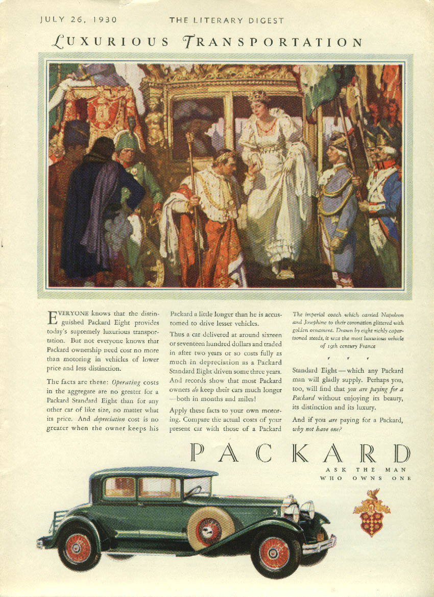 Everyone knows the distinguished Packard Eight is supremely luxurious ad 1930 LD