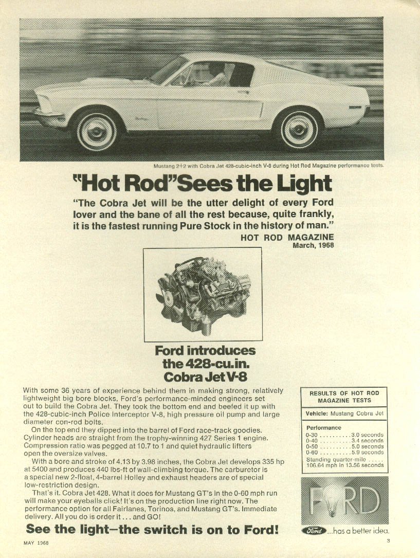 Hot Rod Sees the Light Ford Mustang 2+2 CobraJet 428 ad 1968