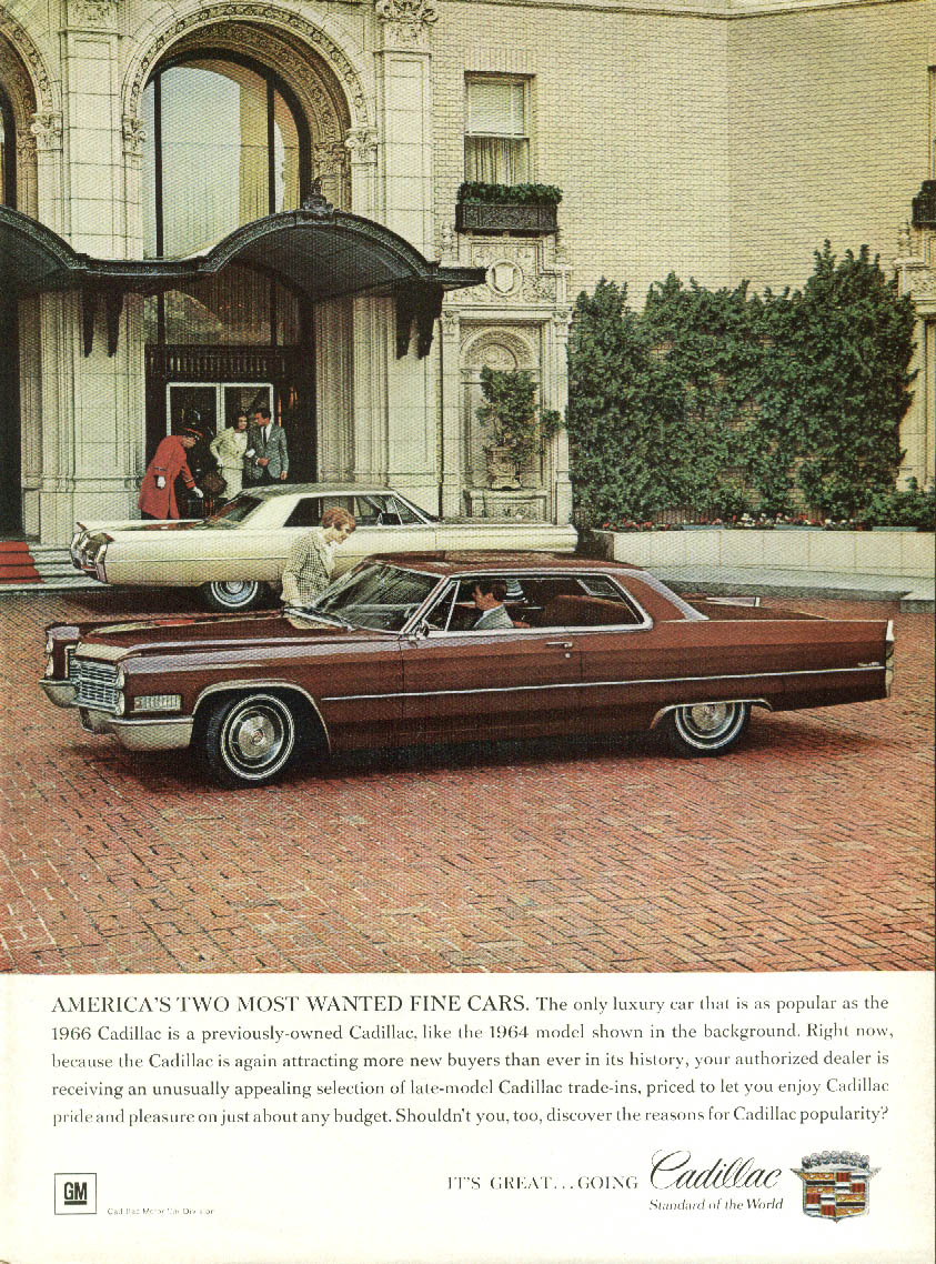 America's Two Most Wanted Fine Cars Cadollac Coupe de Ville ad 1966 NY
